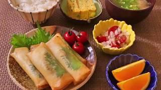 【料理】ささみとチーズの大葉春巻き、玉ねぎとトマトのサラダ、ネギ入り玉子焼き、大根の味噌汁