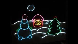 Как украсить окна на Новый Год. Новогодняя картинка на окно из неона и светодиодов своими руками.