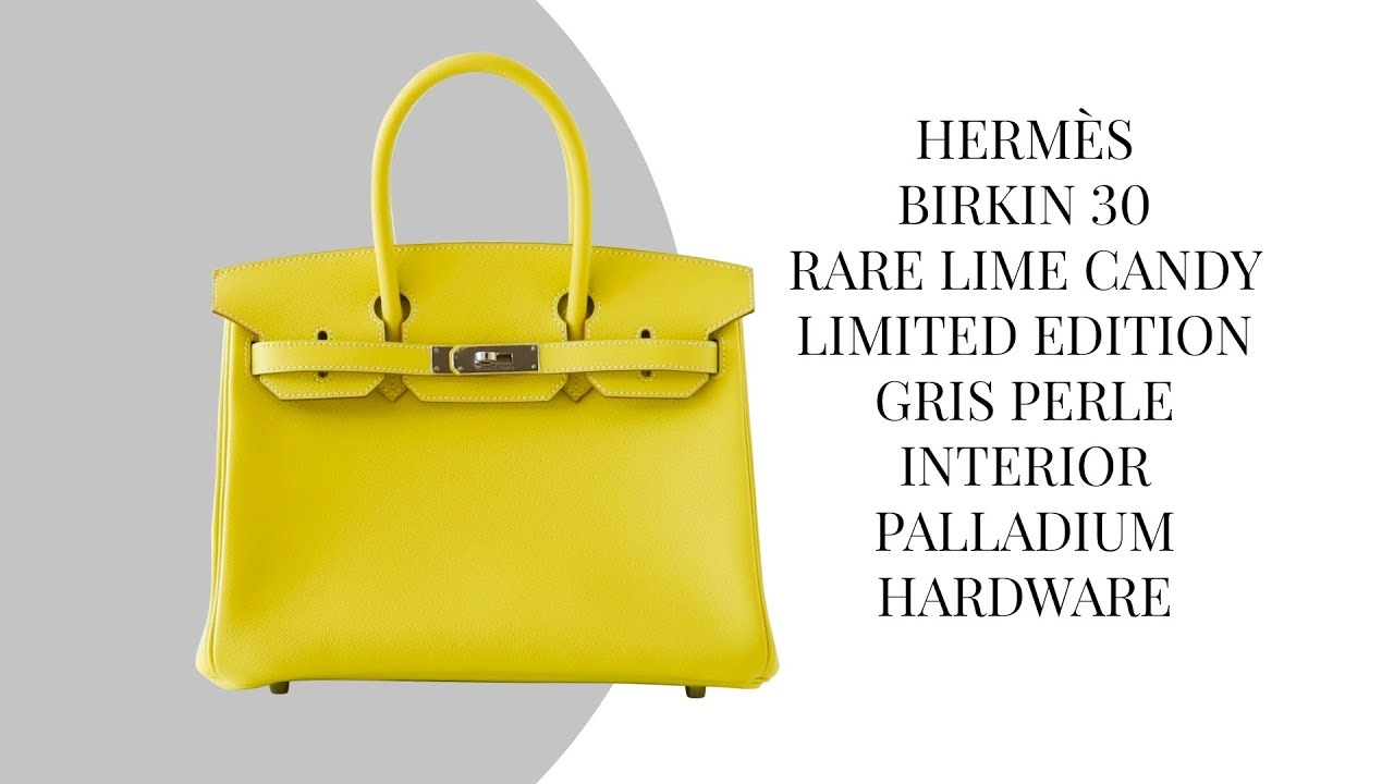 949df098829b MIGHTYCHIC • HERMÈS Birkin 30 Bag Rare Lime Candy Limited Edition Gris  Perle Interior Palladium