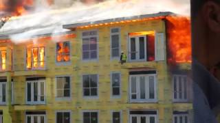 Fire Near AIG Campus - Watch  Man Jump To Escape Fire
