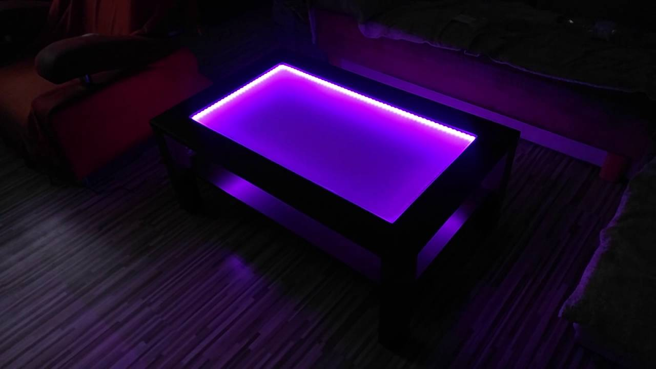 RGB LED light coffee table - YouTube