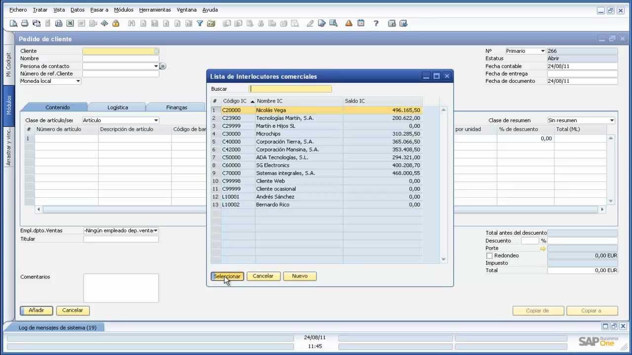 Fundamentos SAP Business One - Ejercicio 26 - Crear un pedido de ...
