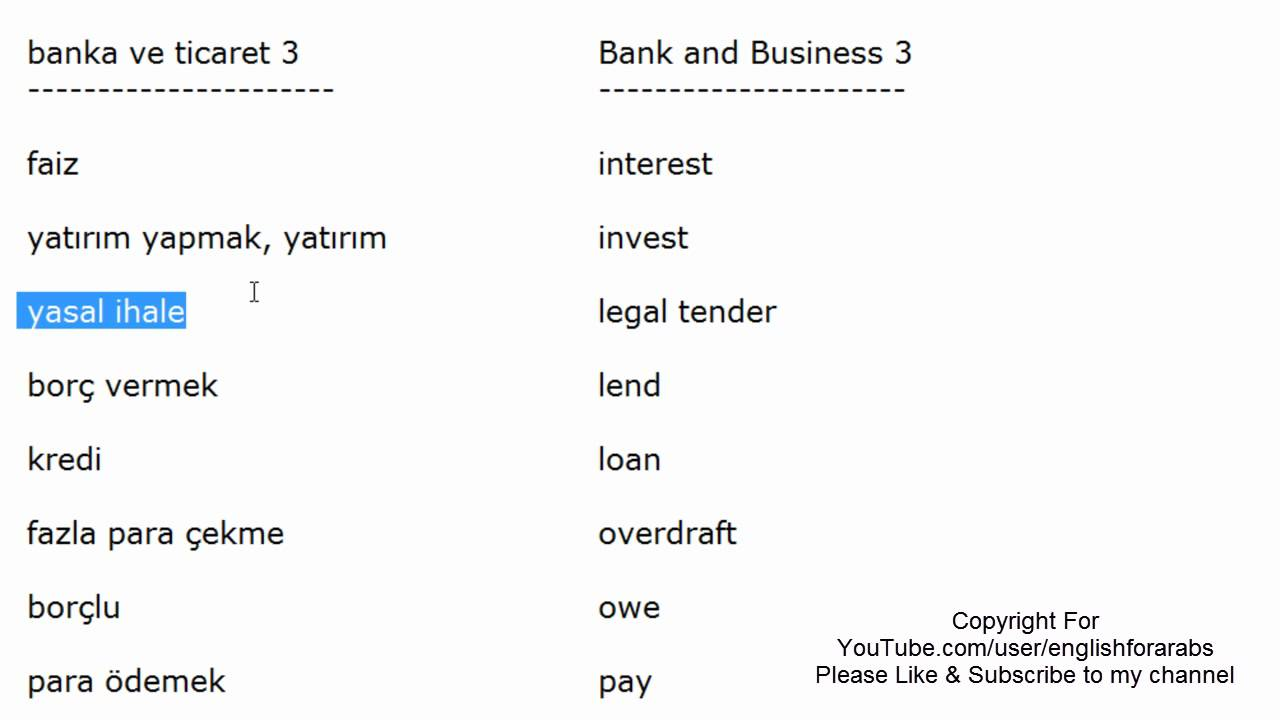 Bank and Business vocabulary in Turkish part 3 - Turkish For Beginners