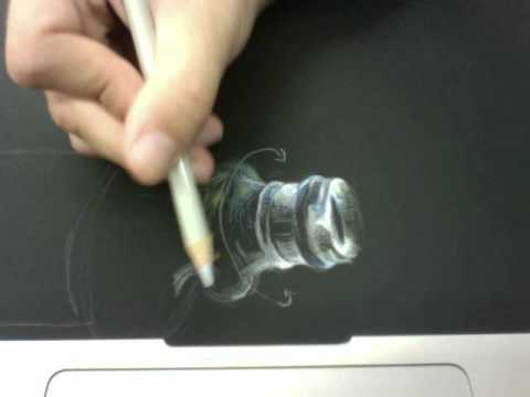 White/Lightly Colored Pencil on Black Paper - YouTube