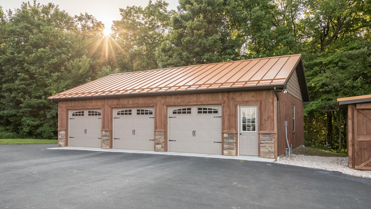 Copper penny roof on 3 car garage a b martin 4k youtube for How much is a one car garage