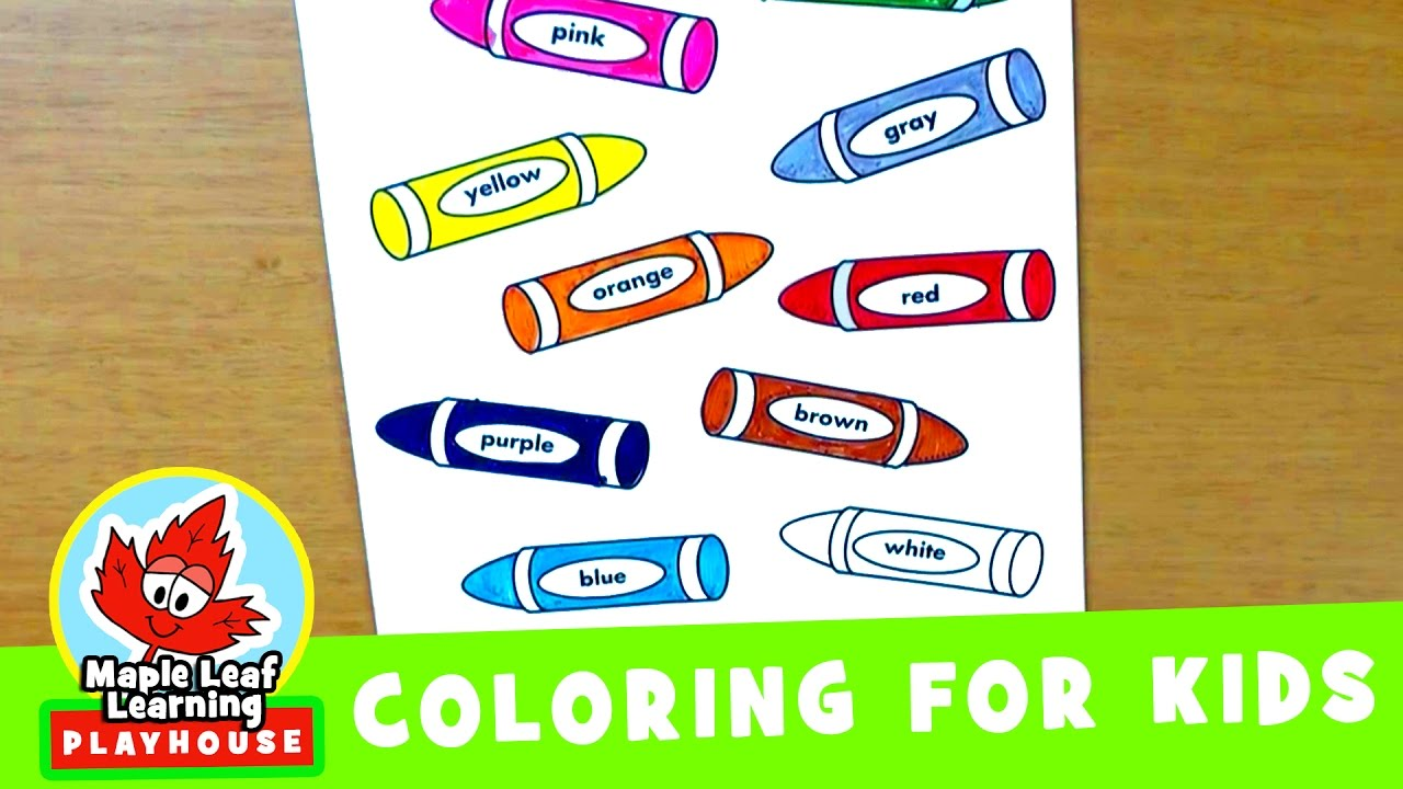 crayons coloring page for kids maple leaf learning playhouse