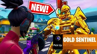 NEW! How to get the GOLD SENTINEL Skin in Fortnite: Battle Royale *NEW* EASTER EGG!