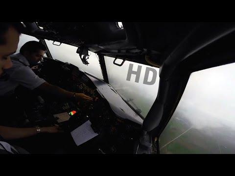 Cockpit | Iran Aseman B727-200ADV | Rainy Visual Low Approach Landing at Gorgan | FULL HD