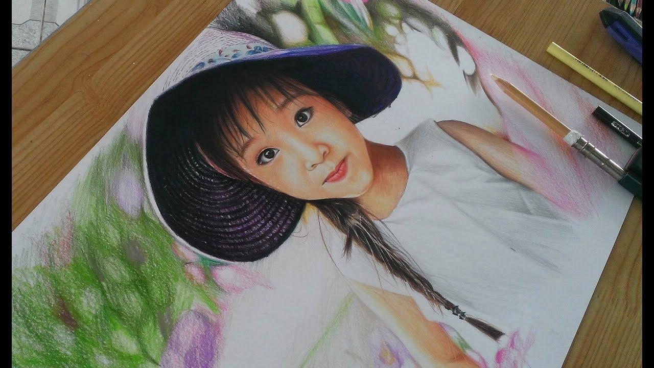Portrait Drawing With Prismacolor Pencil _ vẽ chân dung chì màu _ DP