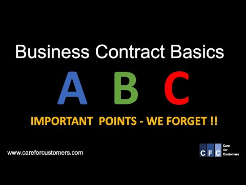 Business Contract Basics - Important Points To Remember When Putting Together A Contract