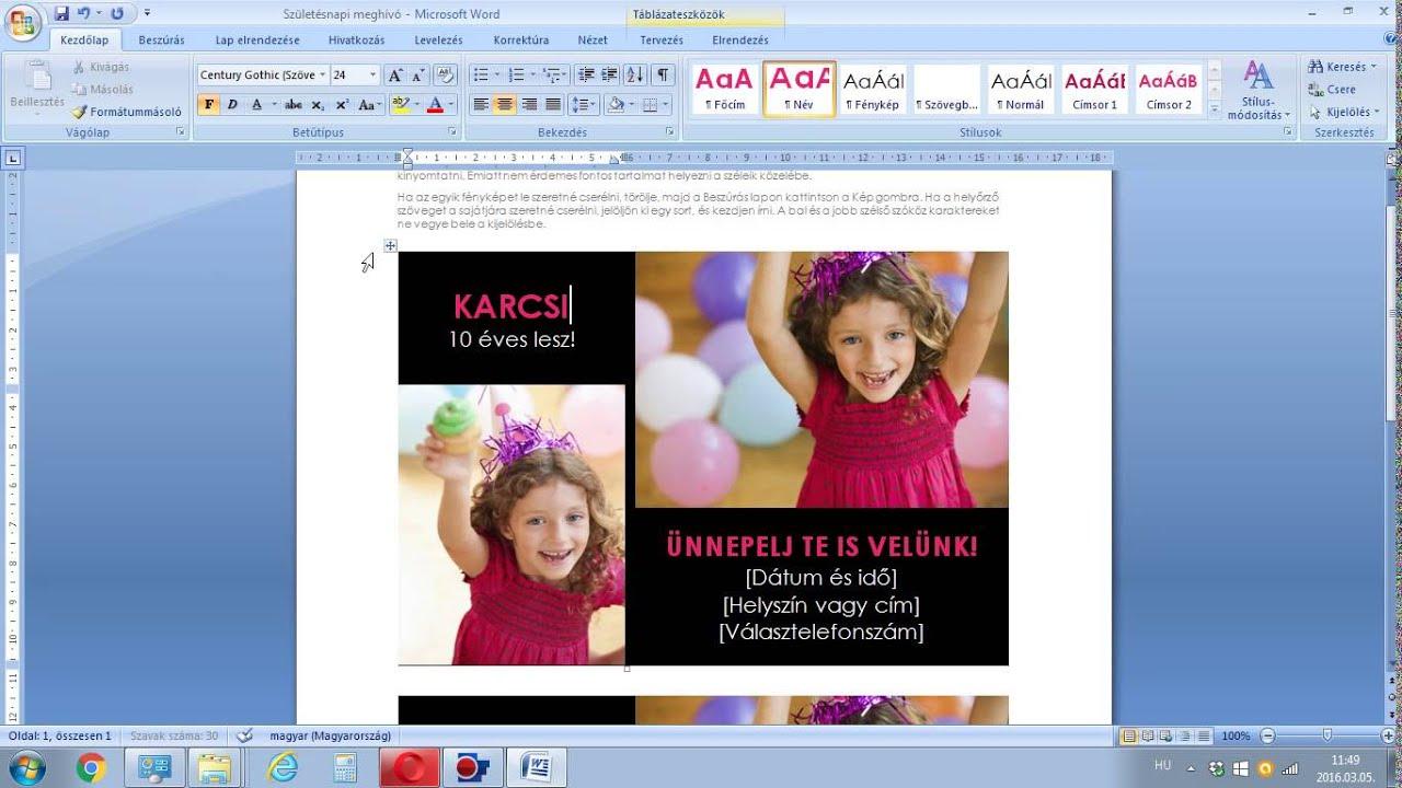 születésnapi meghívó sablonok office 2007 WORD SABLON Szülinapi Meghívó 1   YouTube születésnapi meghívó sablonok office 2007