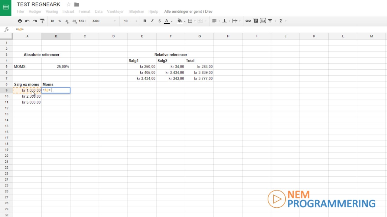 Dansk Google Sheets tutorial #5 | Referencer