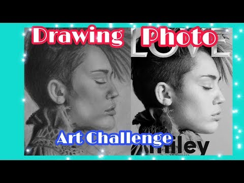 CELEBRITY ART CHALLENGE(MILEY CYRUS PORTRAIT)/REALISTIC DRAWING/ART TUTORIAL thumbnail