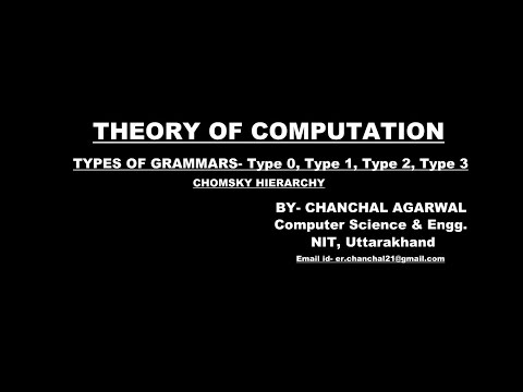 TYPES OF GRAMMAR- Type 0, Type 1, Type 2, Type 3  (CHOMSKY HIERARCHY)|| THEORY OF COMPUTATION