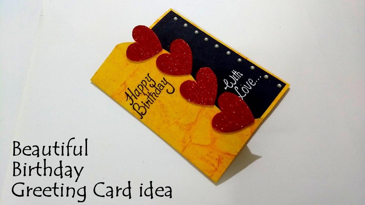 Beautiful Birthday Greeting Card Idea Handmade Birthday Card Complete Tutorial Youtube