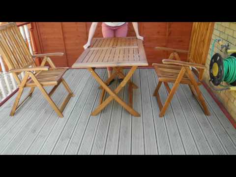 Outdoor acacia garden table and folding chairs VidaXL