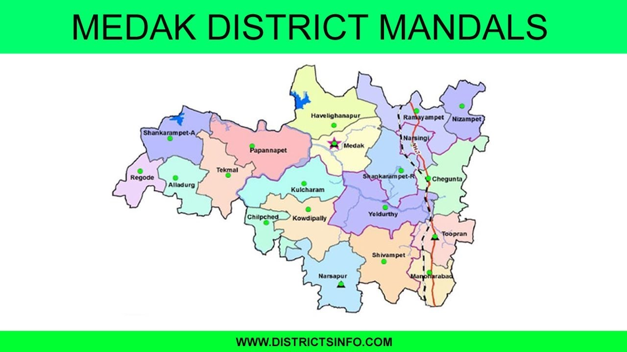 Medak district map with mandals