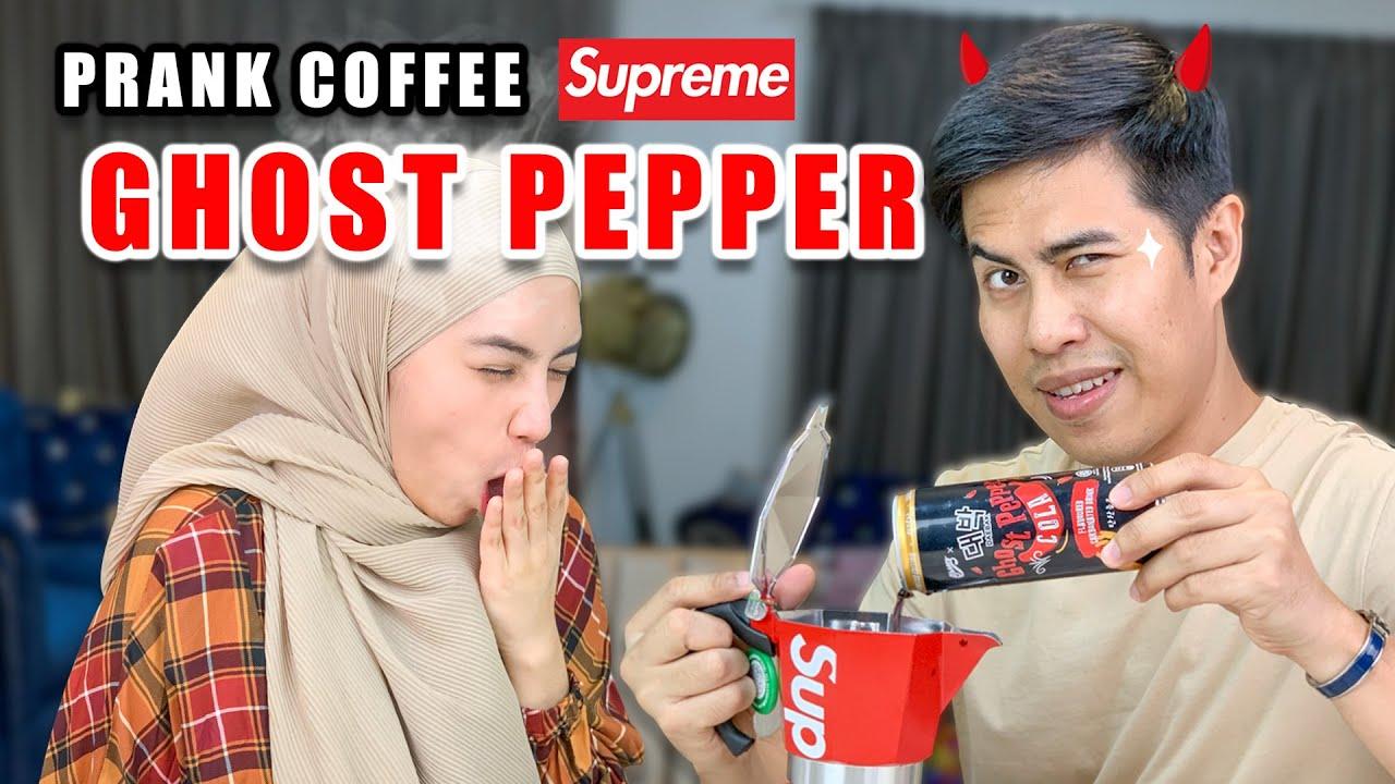 Prank Coffee Supreme Ghost Pepper ! Camera Rosak Kena Sembur