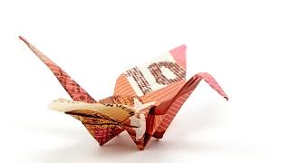 KRANICH aus Geldschein falten, VOGEL als Geldgeschenk zur Hochzeit, 4K