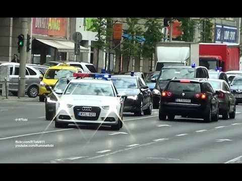 Budapest 14 vehicle government convoy/ escort (2 police & 12 unmarked) [HU | 10.4.2017]