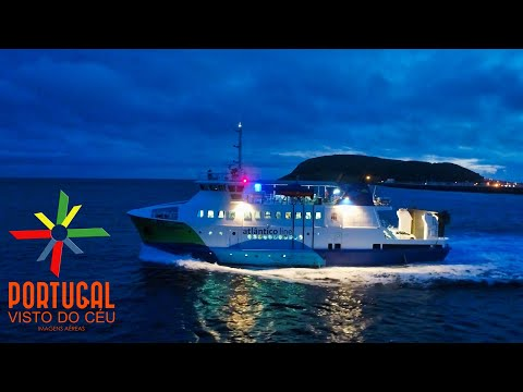 Atlantico line Ferry Boat at dusk - Barco Mestre Simão Faial Pico - Azores - 4K Ultra HD