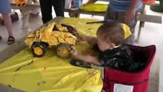 Matt enjoys his dump truck cake