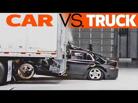 CRASHES: Car Vs. Truck - Trailer Underride Testing