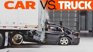 CRASHES: Car vs. Truck - trailer underride testing