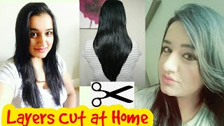 Layers Cut at Home in 5 minutes | How I Cut Layers in My Hair AT HOME! घर पर लेयर कट कैसे करे ?
