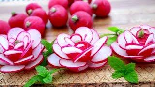 Red Radish Flowers | Flower Roses Garnish | Fruit & Vegetable Carving & Cutting Garnish