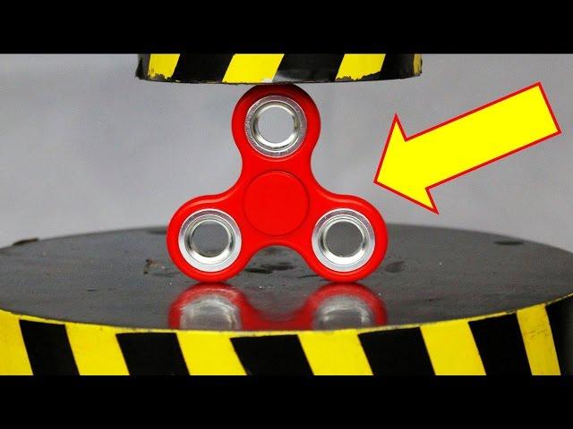 EXPERIMENT HYDRAULIC PRESS 100 TON vs FIDGET SPINNER TOY (48,666 RPM)