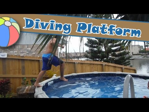 Autistic son requested diving platform for semi above - Above ground pool platform ...