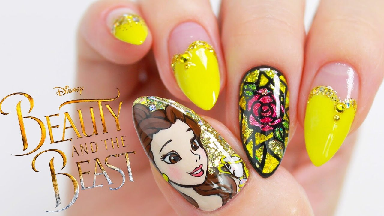 Disney Princess Belle Beauty And The Beast Nail Tutorial