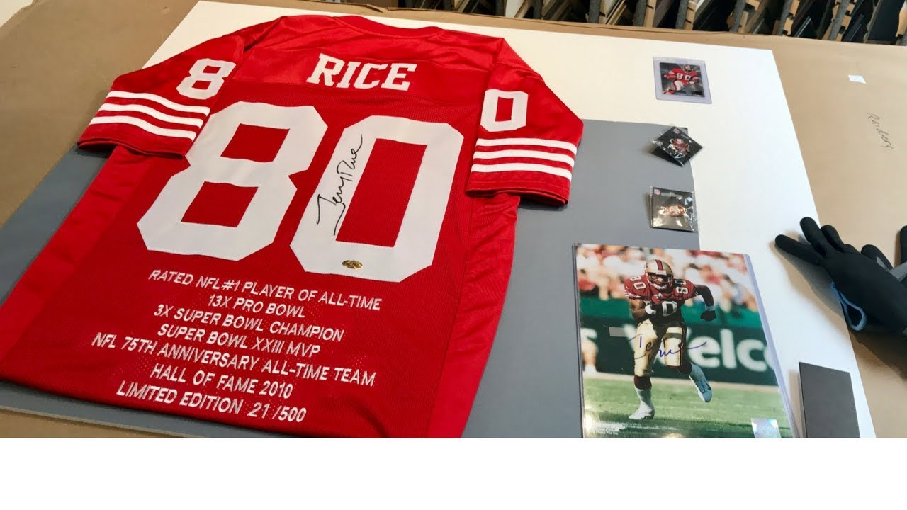 the best attitude 54856 a7f00 Framing a Jerry Rice Stat Jersey with 49ers Pins and Photo