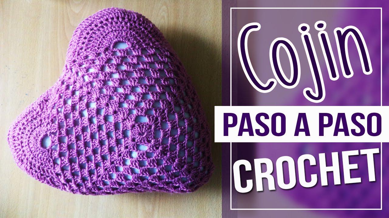 Cojin En Crochet - Diseño de Corazon Tutorial Paso A Paso - YouTube