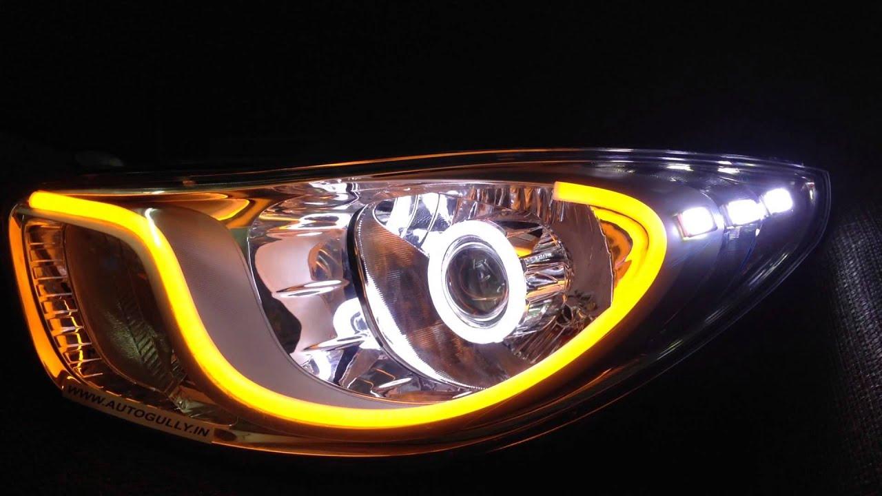 Modified Hyundai I10 Headlights Audi Style Day Time