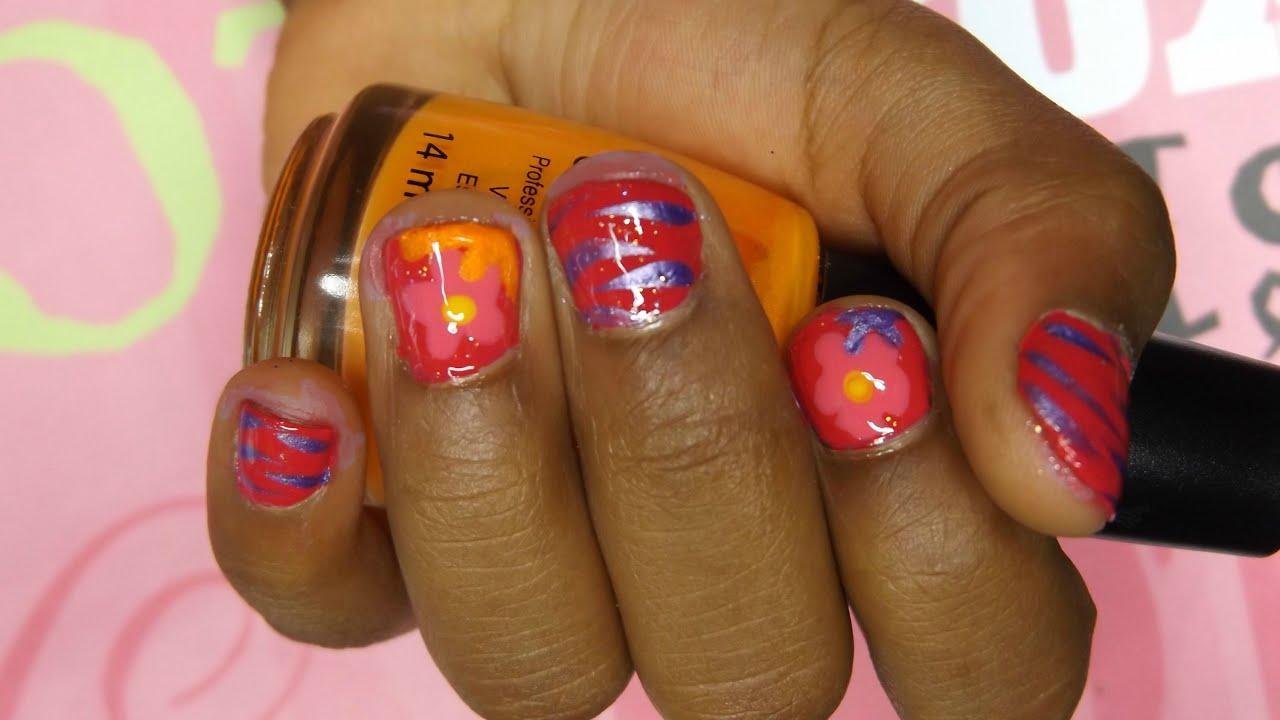 cute flower & zebra nail design for little girls - youtube