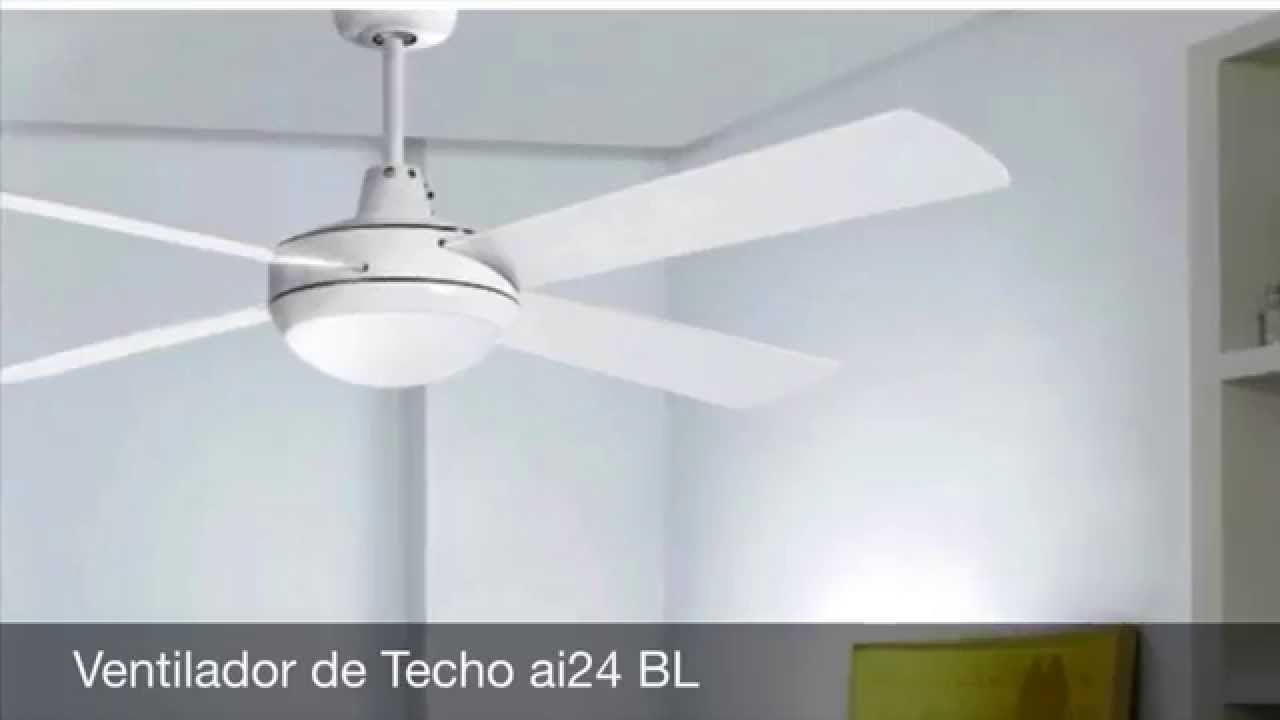 Ventiladores de techo con luz y mando youtube for Ventiladores de pared leroy merlin