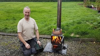 Fantastic Home made Pot Belly wood stove. First lighting!