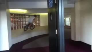 Wall ride in skywalk