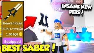 GETTING THE BEST SABER AND INSANELY RARE PETS IN THE NEW SABER SIMULATOR UPDATE! (Roblox)