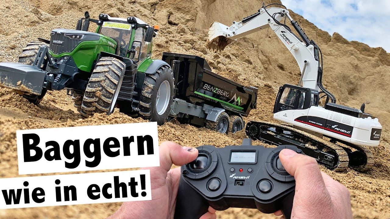 Download Baggern wie in echt: Amewi Vollmetall Bagger im Test | Bruder Fendt 1050 mit Benzberg Muldenkipper