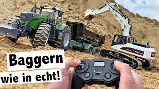 Baggern Wie In Echt: Amewi Vollmetall Bagger Im Test | Bruder Fendt 1050 Mit Benzberg Muldenkipper