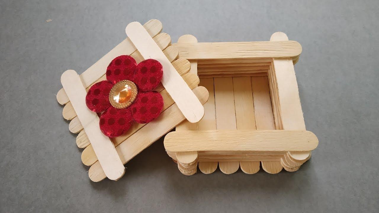 Popsicle Stick Crafts Ice Cream Stick Jewelry Box Gift Box Desk Organizer Diy
