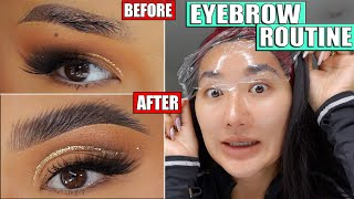 THE ULTIMATE EYEBROW ROUTINE! EYEBROW LAMINATION, THICK FLUFFY FEATHER BROWS