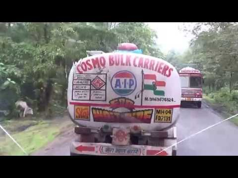 Dangerous Indian highway VOLVO bus driving