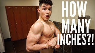 16 Year Old bodybuilder Measuring and flexing Arms | Building Mass Ep.10