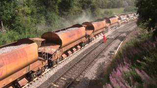 Network rail  autobalaster in action.....with problems @ newton aycliffe 18/08/13