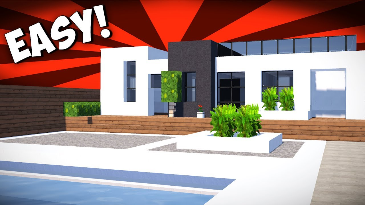 minecraft how to make a small modern house speed build tutorial