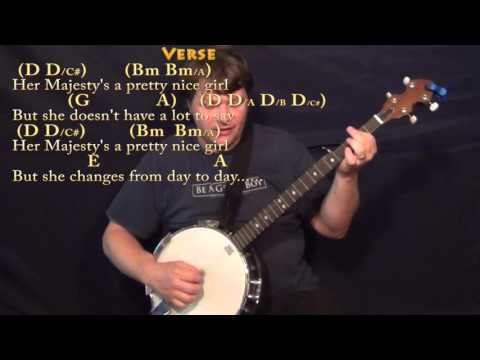 Her Majesty (Beatles) Banjo Cover Lesson with Chords/Lyrics - YouTube